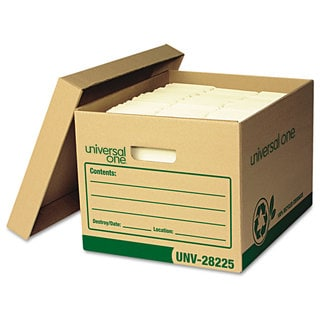 Universal One Recycled Record Storage Box Letter/Legal 12 x 15 x 10 Kraft 12/Carton