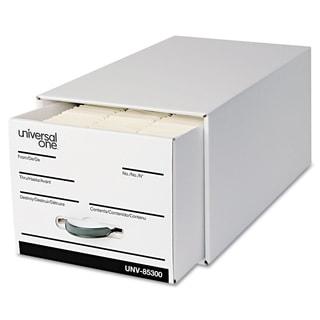 Universal One Heavy-Duty Storage Box Drawer Letter 14 x 25 1/2 x 11 1/2 White 6/Carton
