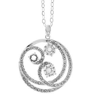 """White Gold Plated Necklace with Entangled Swirl Design with a 16"""" Extendable Chain and High Quality Crystals by Matashi"""