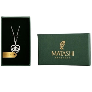 Matashi 18k White Goldplated Crystal 'Eye in Heart' Necklace
