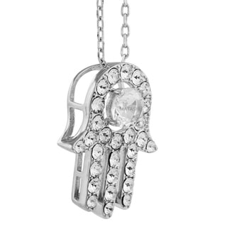 Matashi 18k White Gold-plated Necklace with Hamsa (Hand of Fatima) Pendant