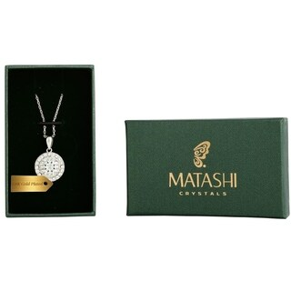"""White Gold Plated Necklace with 'Three Concentric Circles' Design with a 16"""" and High Quality Crystals by Matashi"""