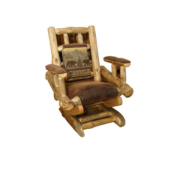 Rustic Pine Log Rocking Chair On Platform
