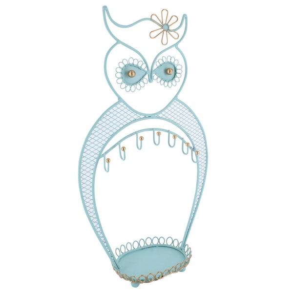 Ikee Design Blue/Green Metal Owl Jewelry Display/Organizer