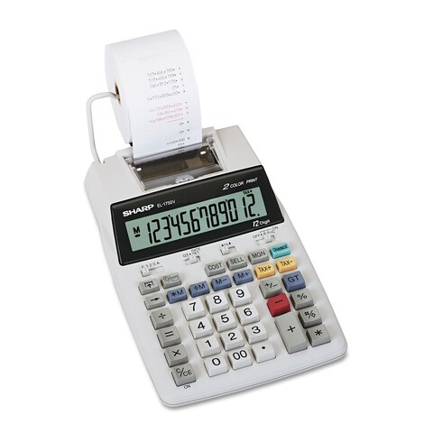 Sharp EL-1750V Two-Color Printing Calculator Black/Red Print 2 Lines/Sec