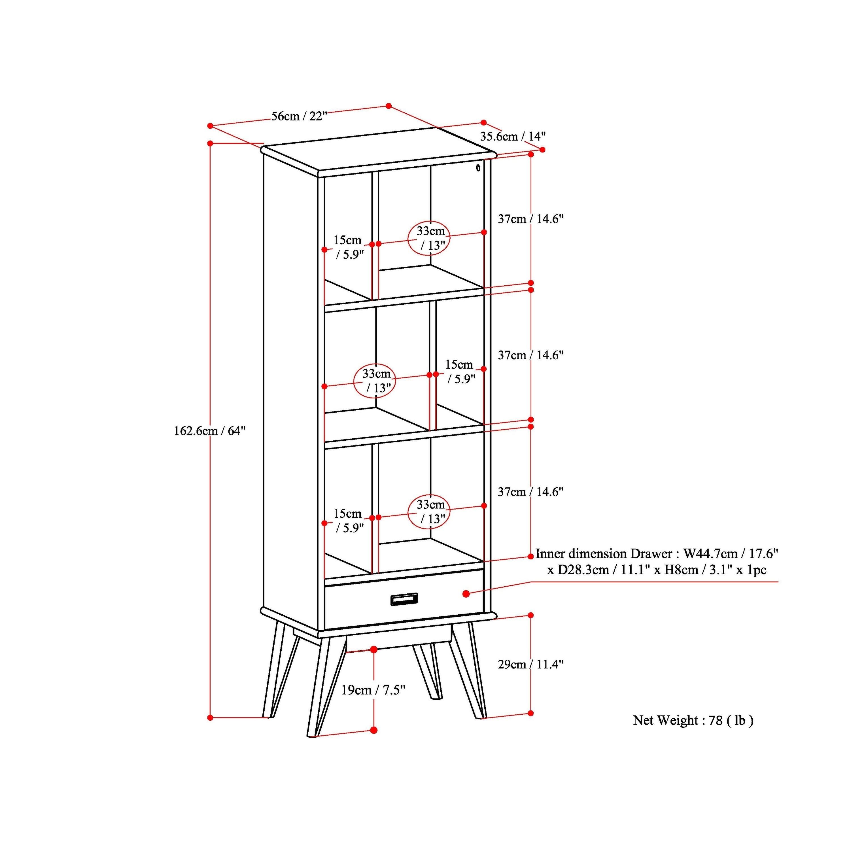 Wyndenhall Tierney Solid Hardwood 64 Inch X 22 Inch Mid Century Modern Bookcase And Storage Unit 22 W X 14 D X 64 H