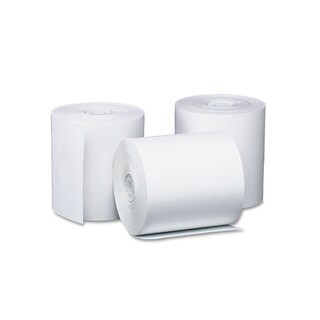 """PM Company Preprinted Single Ply Thermal Cash Register/POS Roll, 3 1/8"""" x 230 ft, Wht, (Pack of 8)"""