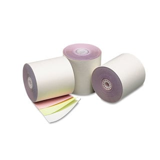 PM Company Three Ply Cash Register/POS Rolls 3-inch x 70 ft. White/Canary/Pink 50/Carton