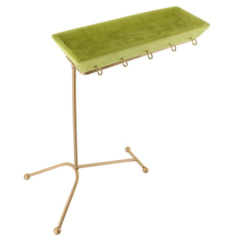 Goldtone Metal and Green Velvet Jewelry Display and Stand Hanger Organizer