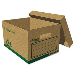 Universal One Recycled Record Storage Box Letter/Legal 12-inch x 24-inch x 10-inch Kraft 12/Carton
