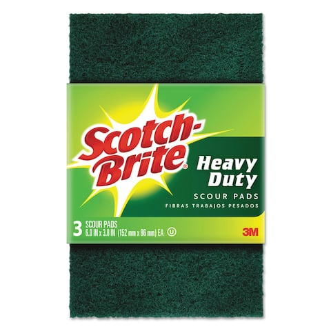 Scotch-Brite Heavy-Duty Scour Pad 3.8-inch wide x 6-inch long Green 3/Pack