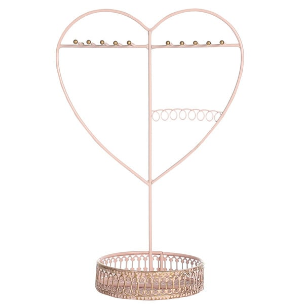 Ikee Design Pink Metal Heart-shape Jewelry Display/Organizer
