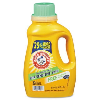 Arm & Hammer HE Compatible Liquid Detergent Unscented 50-ounce Bottle 8/Carton