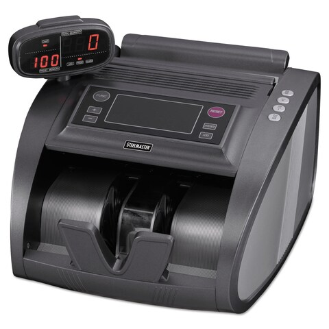 SteelMaster 4820 Bill Counter with Counterfeit Detection 1200 Bills/Min Charcoal Grey