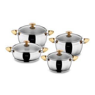 Lisbon 8-piece Stainless Steel Gold Cookware Set by Hisar
