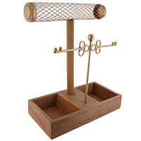 Ikee Design Metal Jewelry Necklace Display Organizer with Wood Tray
