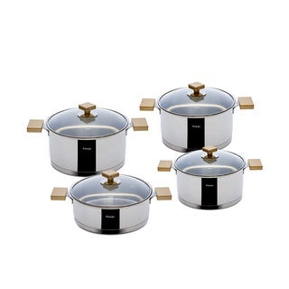 Milan 8-piece Gold Stainless Steel Cookware Set by Hisar