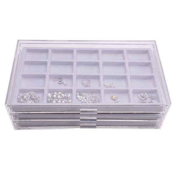 Shop Clear Acrylic Jewelry Organizer With Three Grey Flocked Compartment Display Inserts Overstock 13917462