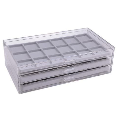 Clear Acrylic Jewelry Organizer with Three Grey Flocked Compartment Display Inserts