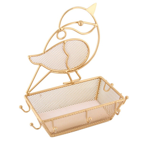 Ikee Design Gold Metal Chubby Bird Jewelry Display Organizer