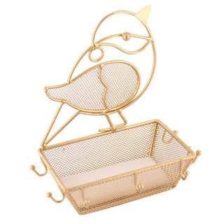 Ikee Design Gold Metal Chubby Bird Jewelry Display Organizer