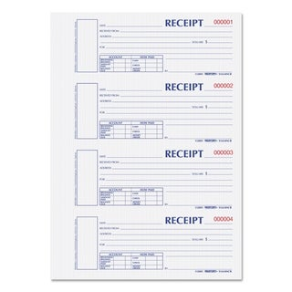 Rediform Hardcover Numbered Money Receipt Book 2 3/4 x 6-7/8 Two-Part 300 Forms