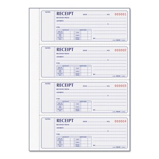 Rediform Receipt Book 2 3/4 x 7 Carbonless Duplicate 400 Sets/Book