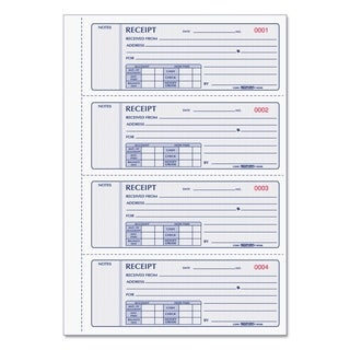 Rediform Receipt Book 2 3/4 x 7 Triplicate with Carbons 200 Sets/Book