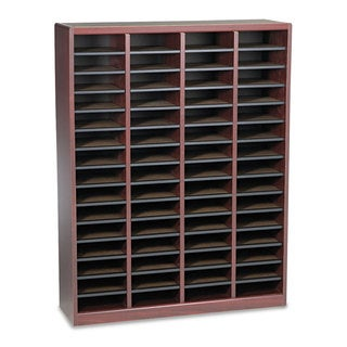 Safco Wood/Fiberboard E-Z Stor Sorter 60 Slots 40x11 3/4x52 1/4 Mahogany 2 Boxes