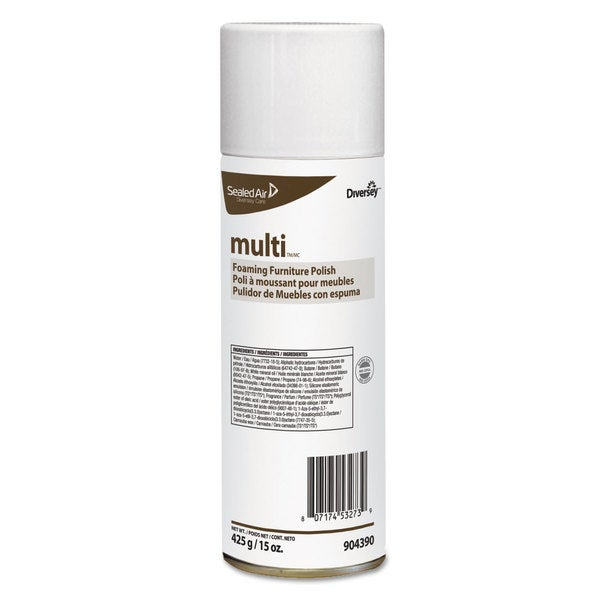 Diversey MULTI Foaming Furniture Polish Lemon Scent 15-ounce Aerosol 12/Carton