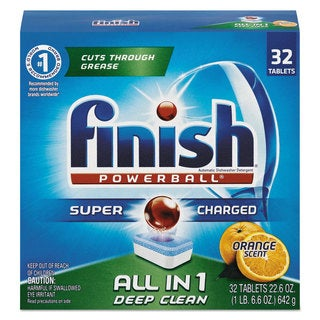 FINISH Powerball Dishwasher Tabs Orange Scent 32/Box 8 Boxes/Carton