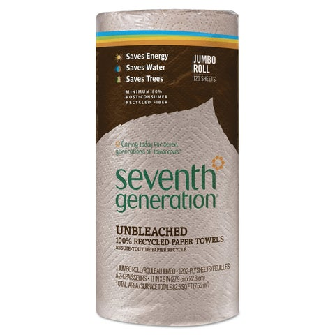 Seventh Generation Natural Unbleached 100-percent Recycled Paper Towel Rolls 11 x 9 120 Sheets/Roll 30 Roll/Carton