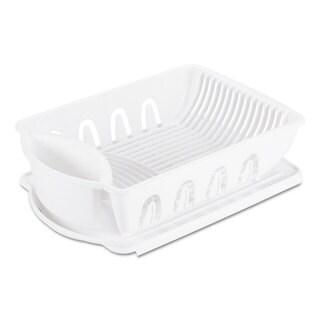 Office Settings 2-Piece Drain Rack Sink Set White Plastic 14 5/8 x 21 x 3 1/2