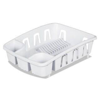 Office Settings Drain Rack White Plastic 5 3/8 x 17 5/8 x 3