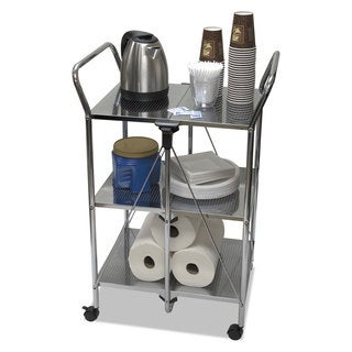 Vertiflex Click-N-Fold Dual Handle Service Cart 23 1/4-inch wide x 18-inch deep x 26 1/4-inch high Chrome