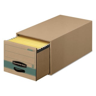 Bankers Box Super STOR/DRAWER Steel Plus Storage Box Letter Kraft/Green 6/Carton