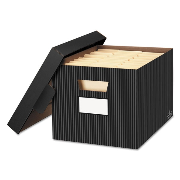 Bankers Box STOR/FILE Decorative Storage Box Letter/Legal Black/Grey 4/Carton -  FELLOWES MFG. CO., 0029803