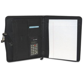 Buxton Zip-Around Cal-Q Folio Smooth Cover Calculator 3-Ring Pad Pocket Black