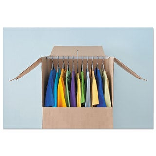 General Supply Wardrobe Moving/Storage Box Hanger Bar 24 inches Long Silver 5/Pack