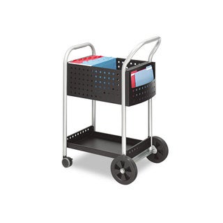 Safco Scoot Mail Cart One-Shelf 22-inch wide x 27-inch deep x 40-1/2-inch high Black/Silver