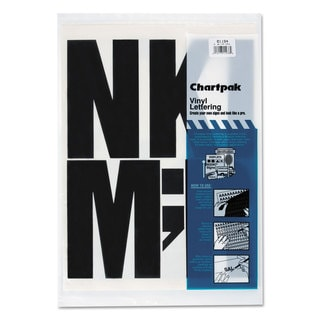 Chartpak Press-On Vinyl Uppercase Letters Self Adhesive Black 6-inch high 38/Pack