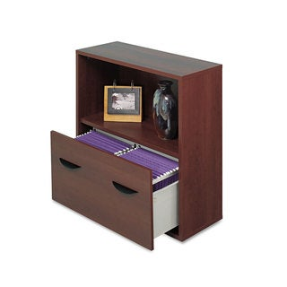 Safco Apres File Drawer Cabinet With Shelf 29 3/4-inch wide x 11 3/4-inch deep x 29 3/4-inch high Mahogany