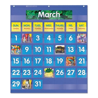 Scholastic Monthly Calendar Pocket Chart 25 1/2 x 10 x 0.13 Blue/Clear