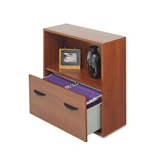 Safco Apres File Drawer Cabinet With Shelf 29 3/4-inch wide x 11 3/4-inch deep x 29 3/4h Cherry