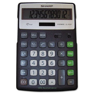 Sharp EL-R297BBK Recycled Series Calculator with Kickstand 12-Digit LCD