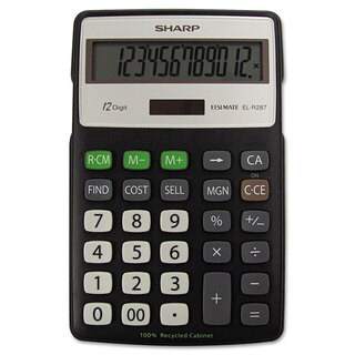 Sharp EL-R287BBK Recycled Series Calculator with Kickstand 12-Digit LCD