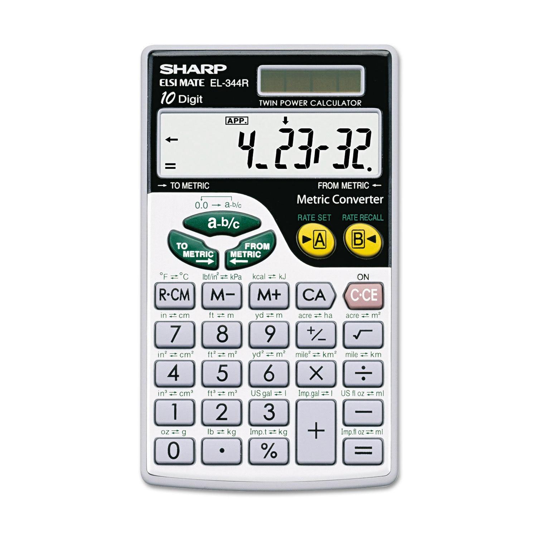 Sharp EL344RB Metric Conversion Wallet Calculator 10-Digi...