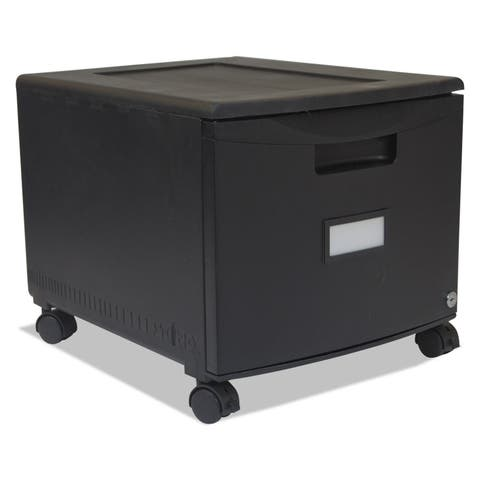 Storex Single-Drawer Mobile Filing Cabinet 14-3/4-inch wide x 18-1/4-inch deep x 12-3/4h Black