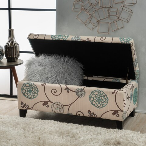 Breanna Floral Fabric Storage Ottoman by Christopher Knight Home