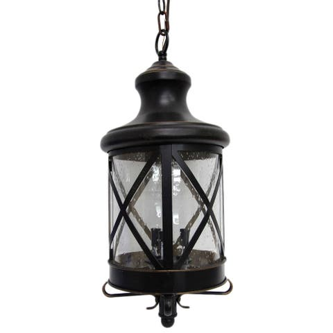 AA Warehousing Taysom 3 Light Exterior Hanging Light in Oil Rubbed Bronze